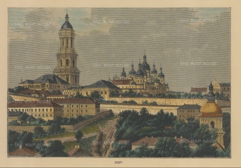 "Reclus: Kiev, Ukraine. 1849. A hand coloured original antique wood engraving. 7"" x 5"". [RUSp776]"