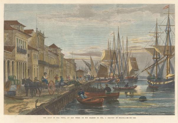 The Illustrated London News: Rio Grande do Sul, Brazil. 1865. A hand-coloured originnal antique wood-engraving. 13 x 9 inches. [SAMp1389]