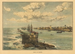 Recife: The stone reef and harbour.