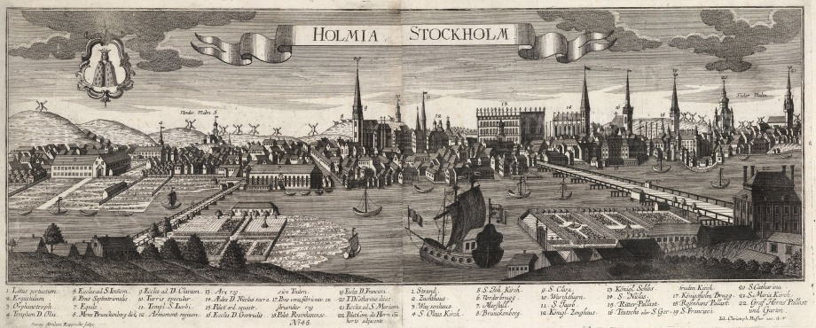 "Georg Balthasar Probst, 'Holmia Stockholm', 1720. An original black and white copper-engraving. 11"" x 27"". £POA."