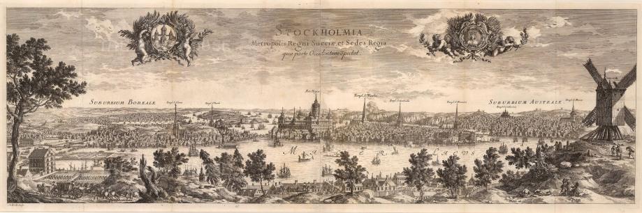 """Count Erik Jonsson Dahlberg, 'Stockholmia', c.1700. An original black and white copper-engraving. 10"""" x 31"""". £POA."""