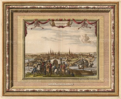 "Van der Aa: Copenhagen. 1700. A hand coloured original antique copper engraving. 17"" x 13"". [SCANp324]"