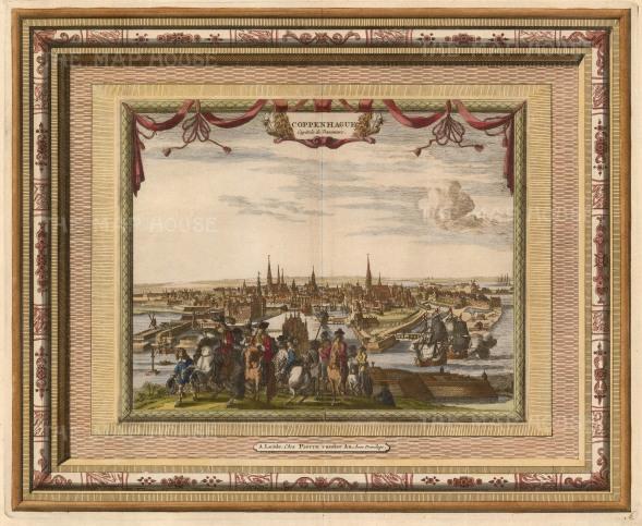 "Van der Aa: Copenhagen, Denmark. 1700. A hand coloured original antique copper engraving. 17"" x 13"". [SCANp324]"