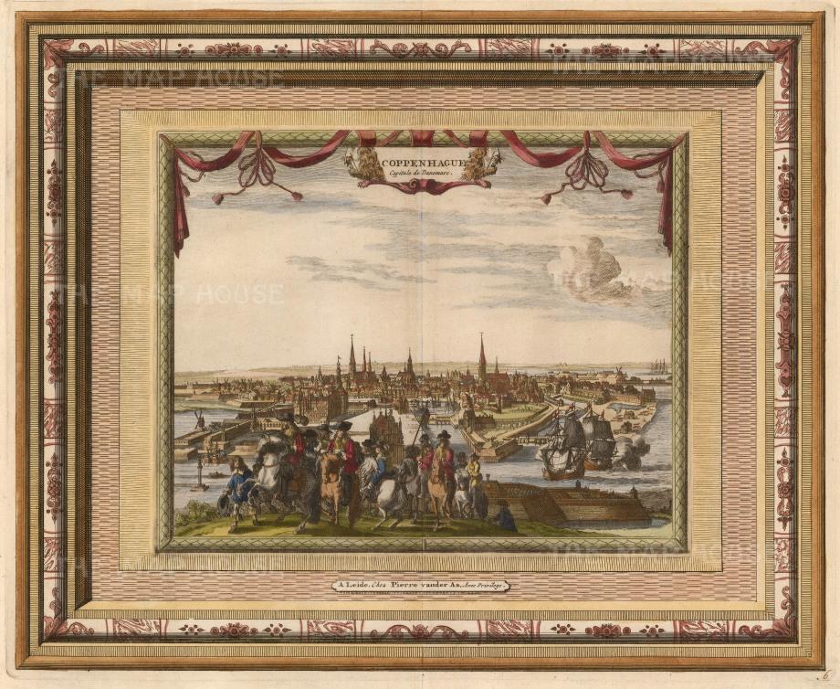"Van der Aa, 'Copenhagen', 1700. An hand-coloured original copper-engraving. 13"" x 17"". £POA."