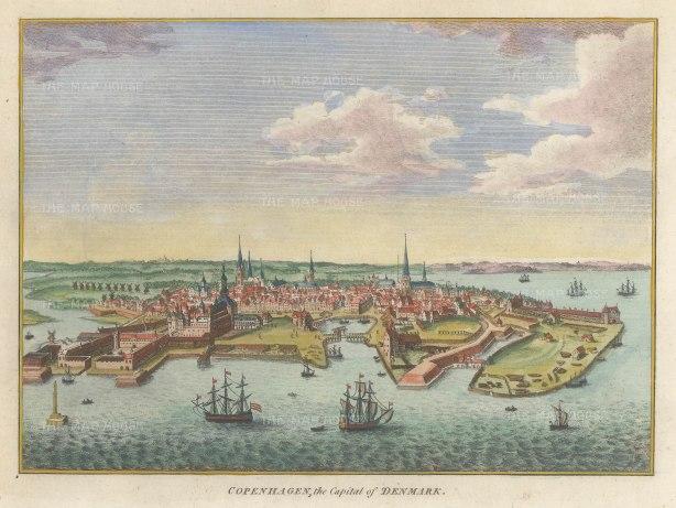"""Hogg: Copenhagen. 1793. A hand coloured original antique copper engraving. 7"""" x 5"""". [SCANp358]"""