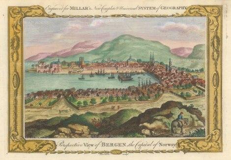 "Millar: Bergen, Norway. 1782. A hand coloured original antique copper engraving. 12"" x 8"". [SCANp360]"