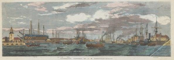 "Illustrated London News: Copenhagen. 1855. A hand coloured original antique wood engraving. 20"" x 8"". [SCANp361]"