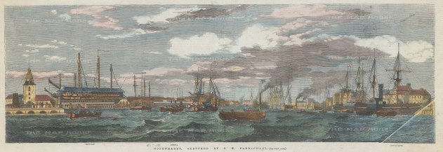 Copenhagen: Panoramic view of the harbour from Dockyard to Custom House.