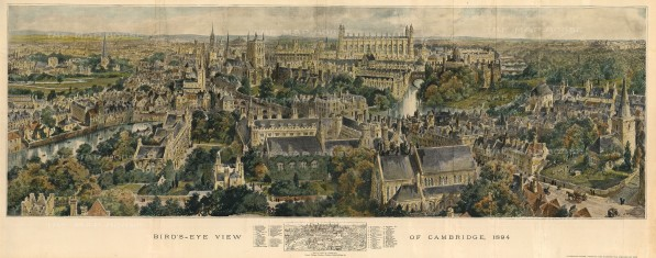 "Graphic Magazine: Cambridge. 1894. A hand-coloured original antique wood engraving. 39"" x 15"". [CAMBSp434]"
