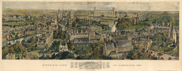 "Graphic Magazine: Cambridge. 1894. A hand coloured original antique wood engraving. 39"" x 15"". [CAMBSp434]"