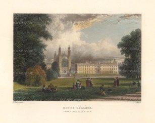 "Le Keux: King's College, Cambridge. 1840. A hand coloured original antique steel engraving. 6"" x 4"". [CAMBSp482]"