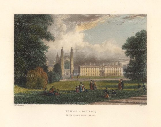"Le Keux: King's College, Cambridge. 1840. A hand coloured original antique steel engraving. 6"" x 4"". [CAMBSp482]"