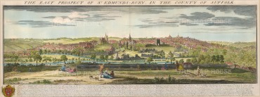 "Buck: St. Edmunds Bury, Suffolk. 1741. A hand coloured original antique copper engraving. 31"" x 11"". [ENGp202]"