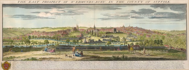 "Buck: St. Edmunds Bury, Suffolk. 1741. A hand coloured original antique copper engraving. 31"" x 11"". [ENGp202]"