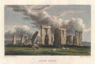 "Westall: Stonehenge. c1820. A hand coloured original antique steel engraving. 5"" x 4"". [ENGp294]"
