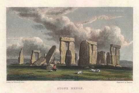 "Westall: Stonehenge. c1820. A hand coloured original antique steel engraving. 5"" x 4"". [ENGp294]"
