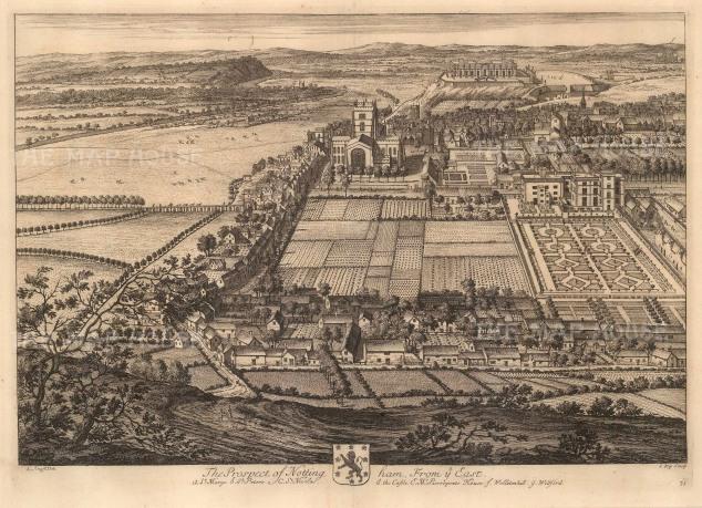 """Kip: Nottingham, Nottinghamshire. 1719. An original antique copper engraving. 20"""" x 14"""" [ENGp2]"""