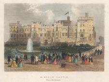 "Tallis: Windsor Castle. 1851. A hand coloured original antique steel engraving. 4"" x 3"". [ENGp324]"