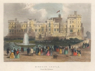 "Tallis: Windsor Castle, Berkshire. 1851. A hand coloured original antique steel engraving. 4"" x 3"". [ENGp324]"