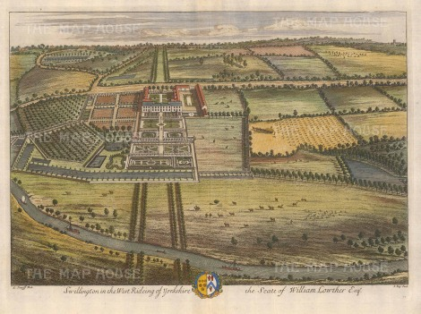 "Kip: Swillington, Yorkshire. 1719. A hand coloured original antique copper engraving. 20"" x 14"" [ENGp4]"