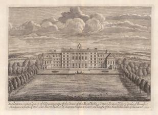 """Kip: Badminton, Gloucestershire. 1715. An original antique copper engraving. 20"""" x 14"""" [ENGp8]"""