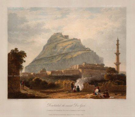 Grindlay: Daulatabad, Maharashtra. 1826. An original colour antique aquatint. 13 x 11 inches. [INDp1085]