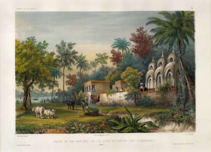 Hooghly River: View of the Dina Marlinga temple on the banks of the river near Chandannagar. After Theodore-Auguste Fisquet, artist on the voyage of La Bonite 1836-7.