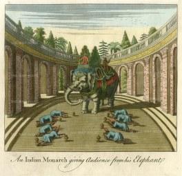 Bankes: Monach giving audience atop an elephant. Circa 1750. A hand-coloured original antique copper-engraving. [INDp1340]