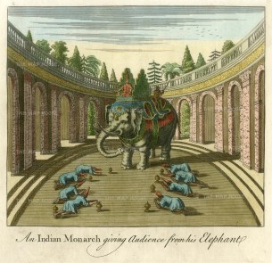 """SOLD. Bankes: Monarch giving audience atop an elephant. c1750. A hand coloured original antique copper engraving. 8"""" x 8"""". [INDp1340]"""