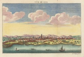 "Bellin: Goa. c1748. A hand coloured original antique copper engraving. 8"" x 5"". [INDp1389]"