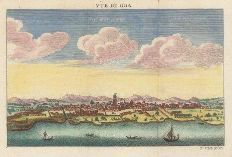 "Bellin: Goa. c1748. A hand coloured original antique copper engraving. 8"" x 5"". [INDp1389]"