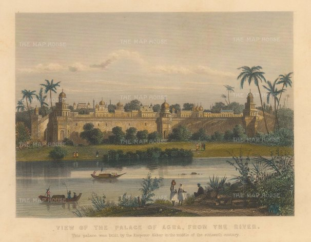 Allom: Agra. Circa 1840. A hand-coloured original antique steel-engraving. 8 x 6 inches. [INDp1397]
