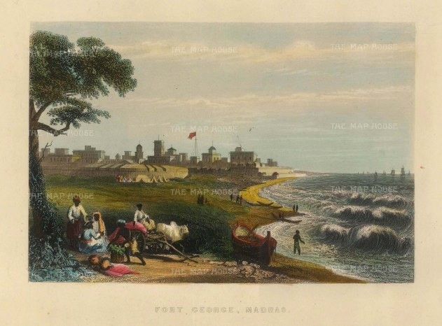 Allom: Madras. Circa 1840. A hand-coloured original antique steel-engraving. 8 x 6 inches. [INDp1399]