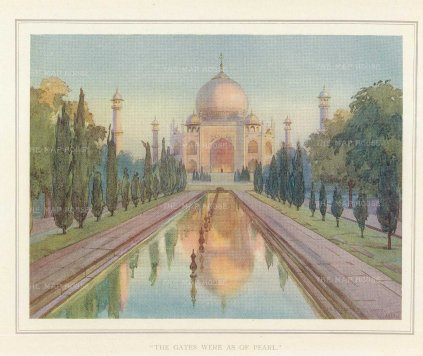 Taj Majal: View from the pool. Villiers-Stuart resided in India and was a Fellow of the Royal Horticultural Society and the Institute of Landscape Architects.