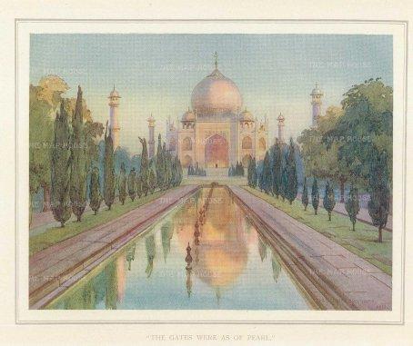 Villiers-Stuart: Agra. 1918. An original antique chromo-lithograph. 6 x 5 inches. [INDp1412]