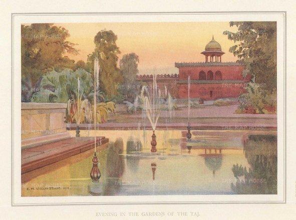 Villiers-Stuart: Agra. 1918. An original antique chromo-lithograph. 6 x 5 inches. [INDp1413]