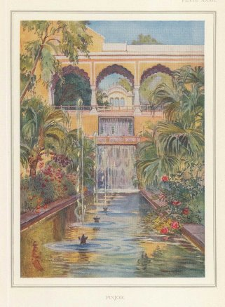 Villiers-Stuart: Pinjore, Haryana. 1918. An original antique chromo-lithograph. 5 x 6 inches. [INDp1414]