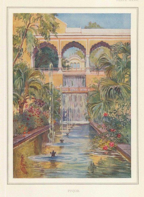 "Villiers-Stuart: Pinjore, Haryana. 1918. An original antique chromolithograph. 5"" x 6"". [INDp1414]"