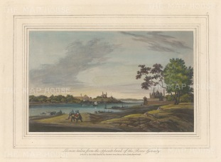 Lucknow: From the river Gomti with the palace of Nawab Shuja-ud-Daula on the left and palace of Nawab Asaf-ud-Daula.