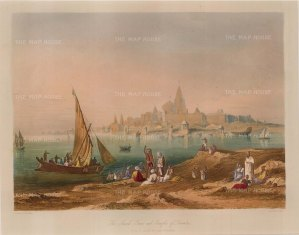 Gujarat: Dwarka (Dvaravati). View over the harbour towards the Jagat Mandir (Dwarkadhish temple).