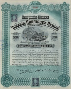 Compania Minera. Stock Certificate worth two hundred dollars. Spanish, English and French text.