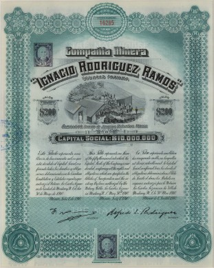 """Compania Minera of Mexico: Stock certificate worth two-hundred dollars.1910. An original colour antique mixed-method engraving. 9"""" x 11"""". [MISCp3762]"""