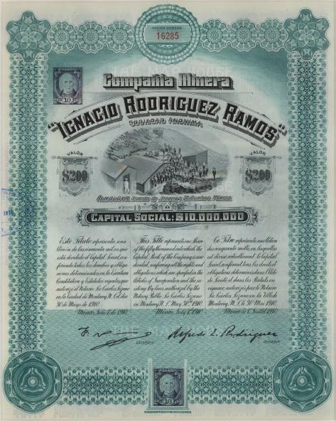 "Compania Minera of Mexico. Stock certificate worth two-hundred dollars.1910. An original colour antique mixed-method engraving. 9"" x 11""."