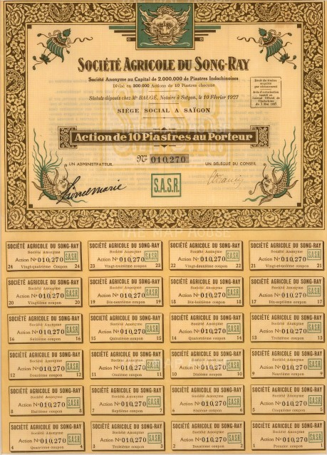 "Bond Issued by the Societe Agricole du Song-Ray. 1927. An original colour mixed-method engraving. 10"" x 13""."