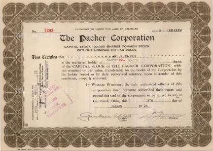 "Packer Corporation. Ten Capital Stock Shares. 1928. An original colour mixed-method engraving. 9"" x 12""."