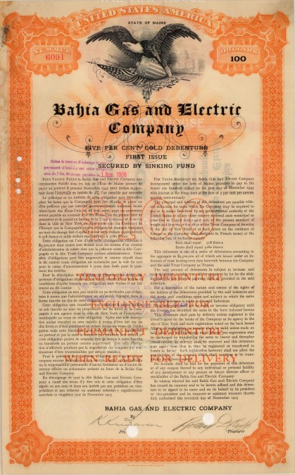 """Bahia Gas and Electric Company: Forty Year Debenture. 1905. An original colour vintage mixed-method engraving. 9"""" x 14"""". [MISCp5046]"""