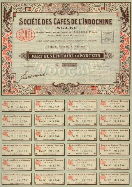 """Societe des Cafes de l'Indochine. Share Certificate. 1926. An original colour mixed-method engraving. 10"""" x 14."""
