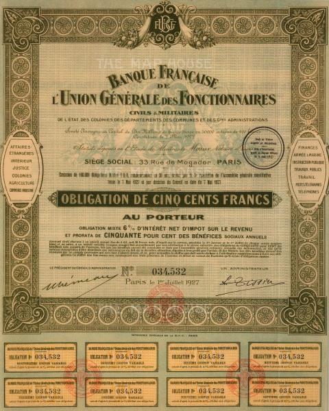 """Banque Francaise de l'Union Generale des Fonctionnaires. Share Certificate. 1927. An original colour mixed-method engraving. 10"""" x 14""""."""