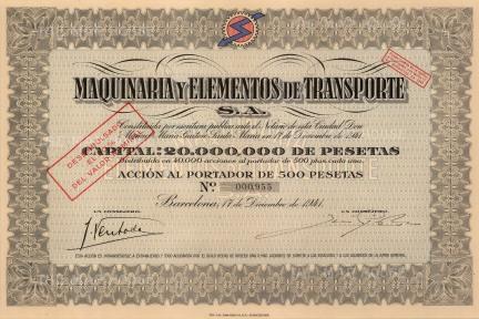 """Maquinaria y Elementos de Transporte. 1941. An original colour mixed-method engraving. 7"""" x 12""""."""