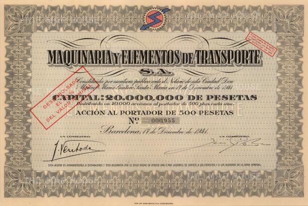 "Maquinaria y Elementos de Transporte: Share Certificate. 1941. An original colour vintage mixed-method engraving. 7"" x 12"". [MISCp5051]"